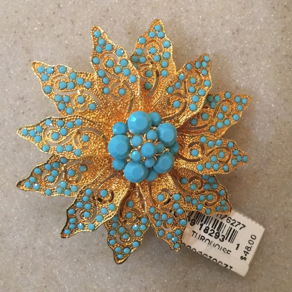 Faux Turquoise & Gold Flower Brooch
